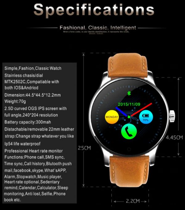 K88H Bluetooth Smart Watch Heart Rate Monitor Smartwatch 5